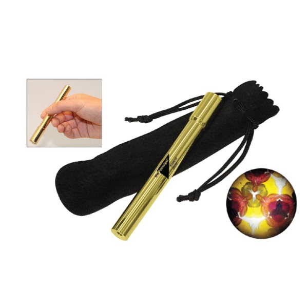 Item #AD-911 Solid brass pocket kaleidoscope with velvet pouch