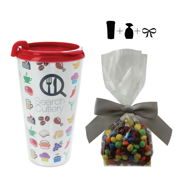Item #T-MUG-CANDY Plastic Travel Mug with Chocolate Littles - 16 oz. Drinkware