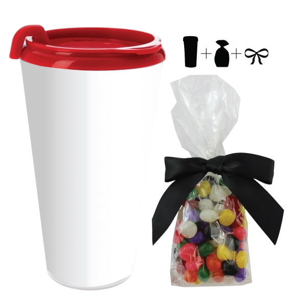 Item #T-MUG-JELLY Plastic Travel Mug with Jelly Beans Candy - 16 oz. Drinkware