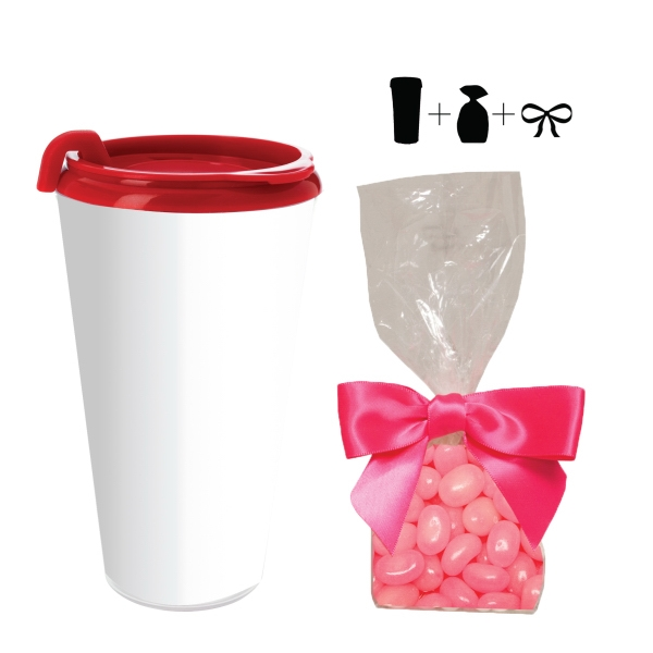 Item #T-MUG-BEANS Travel Mug w/ Corporate Color Jelly Beans - 16 oz. Drinkware