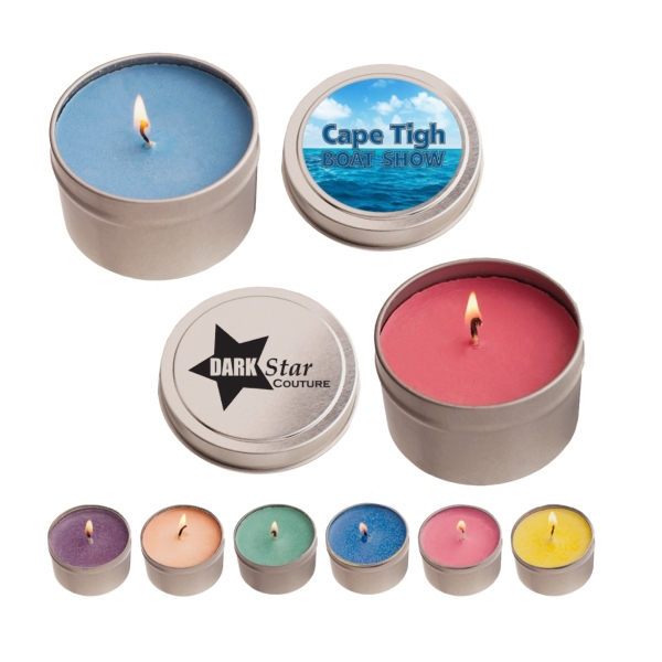 Item #RTC04-CANDLE 4 oz. Eco Friendly Soy Candle In Round Tin
