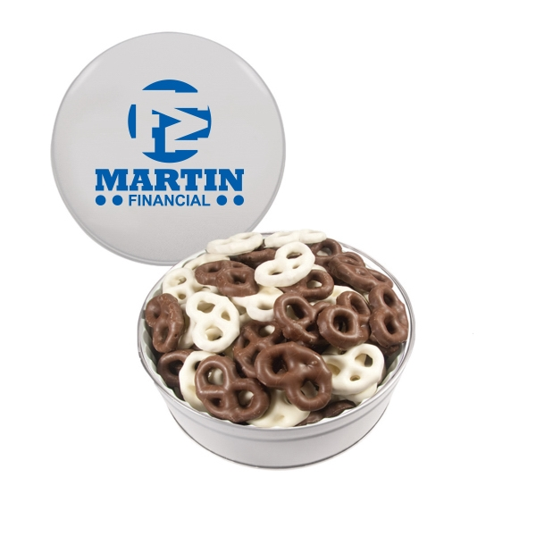 Item #GT2E-PRETZEL The Royal Tin with Chocolate Covered Mini Pretzels