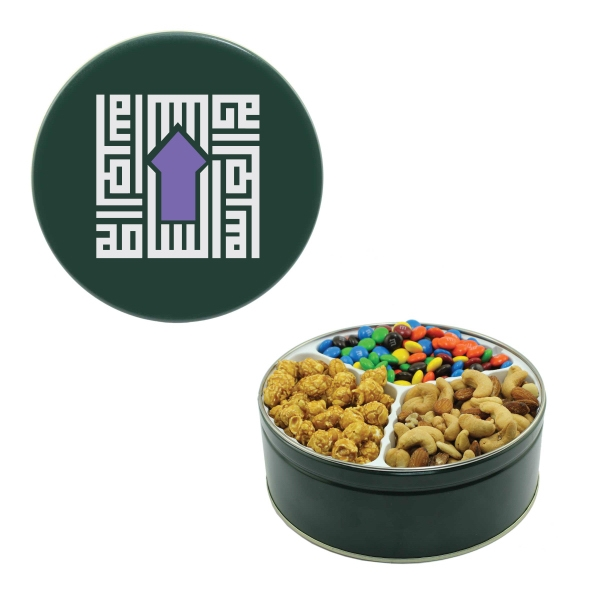 Item #GT2B-TIN Royal Tin Compare to M&M(r) candy, Nuts & Caramel Popcorn