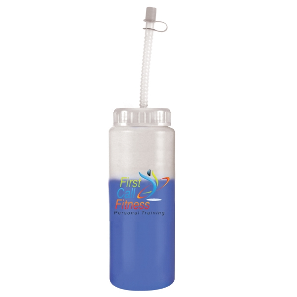 Item #80-67550 32 oz. Mood Sports Bottle With Flexible Straw, Full Color Di