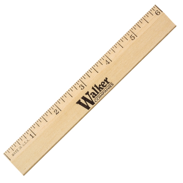 "Item #90106 6"" Clear Lacquer Beveled Wood Ruler"