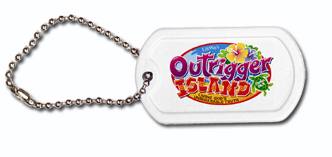 "Item #80-28400 Plastic Dog Tag , 4-1/2"" Ball Chain, FCD"
