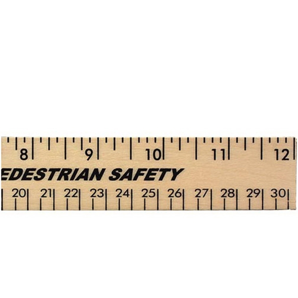 "Item #92512 12"" Clear Lacquer Wood Ruler - English & Metric Scale"