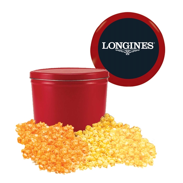 Item #T2G Two Gallon Popcorn Tin w/ Caramel, Butter & Cheese Flavors