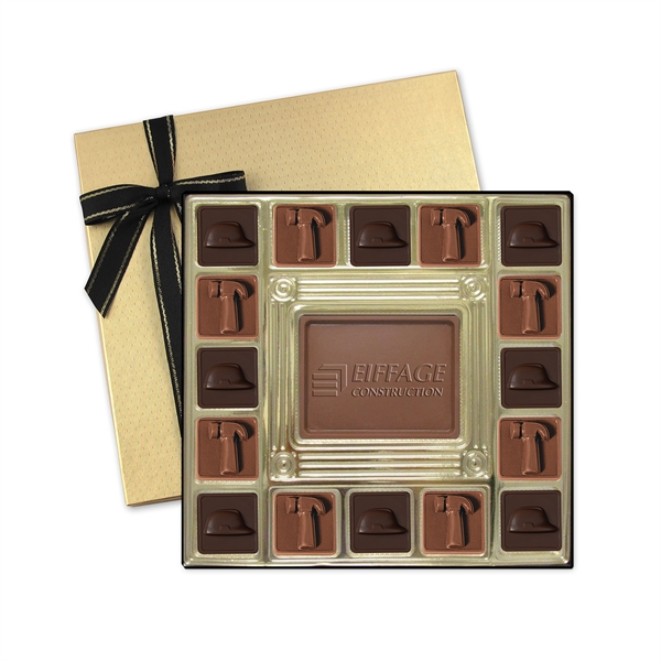 Item #SQ16 Custom Molded Chocolate Squares Gift Box