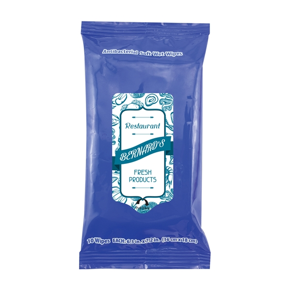 Item #WIPES10-HAND 10 Pack Antibacterial Hand Sanitizer Moist Towelettes