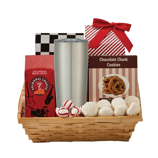 Item #BTT-BAKERY Coffee & Cookie Gift Basket with Travel Tumbler