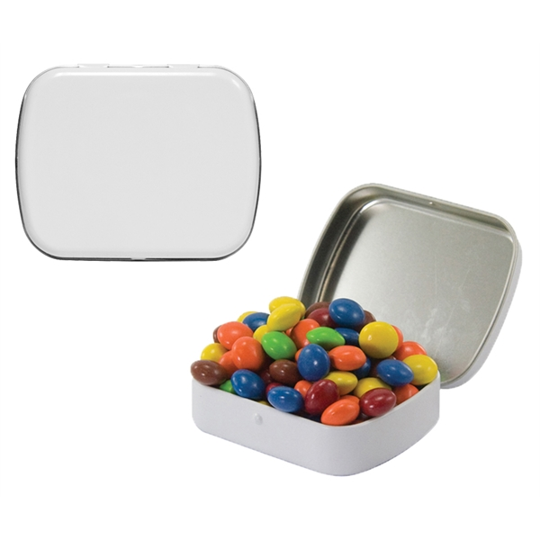 Item #CANDY ST02WCL Small Tin w/Chocolate Littles Candy, compare to M&M(r) candy