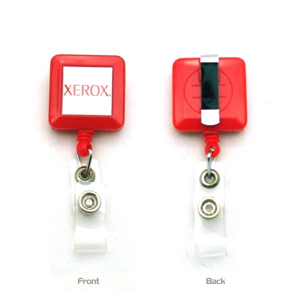 Item #REEL4C-SQ 4-Color Process Square Plastic Badge Reel
