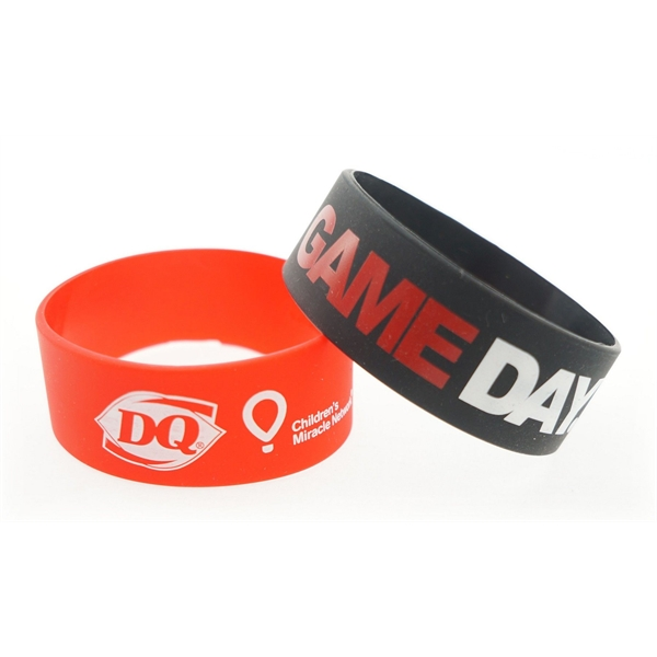 Item #BROADBAND-P Broad Recycled Silicone Wrist Band w/Printed Logo