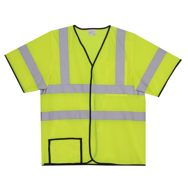 Item #SV136 L/XL Yellow Mesh Short Sleeve Safety Vest