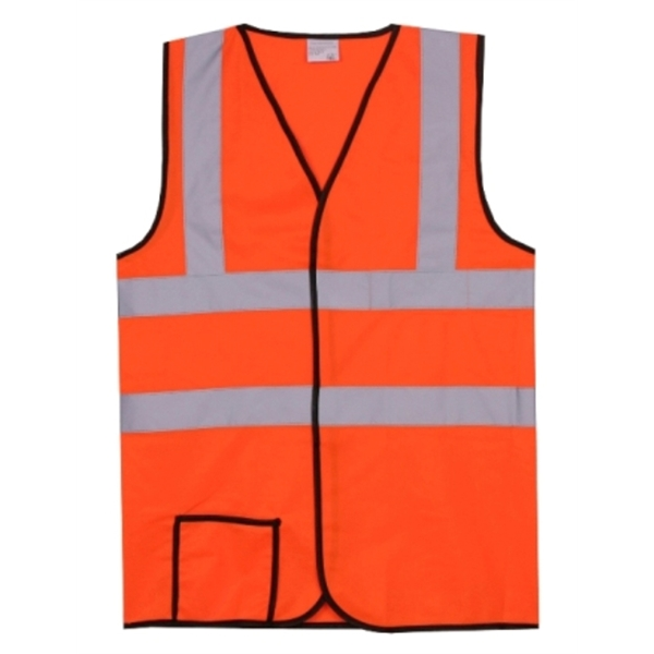Item #SV157 Dual Stripe L/XL Orange Solid Safety Vest