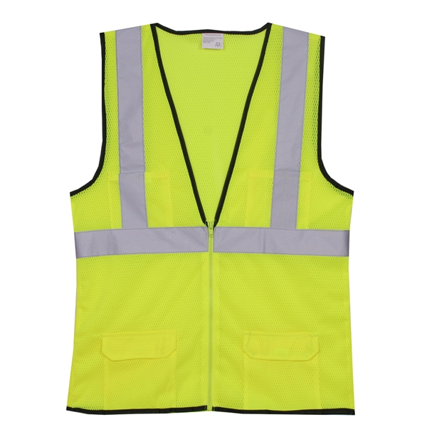 Item #SV171 S/M Yellow Mesh Zipper Safety Vest