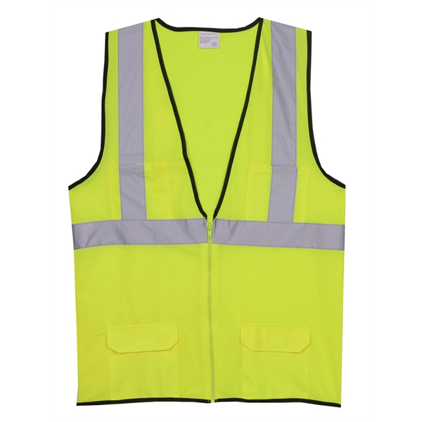 Item #SV176 2XL/3XL Yellow Solid Zipper Safety Vest