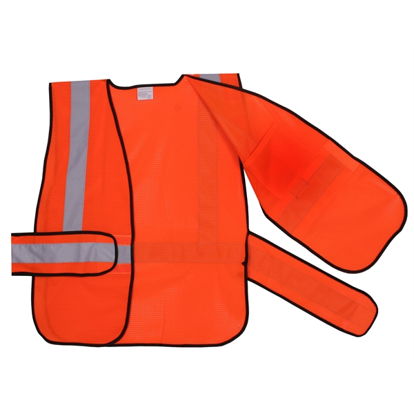 Item #SV405 Orange Mesh Side Strap Safety Vest