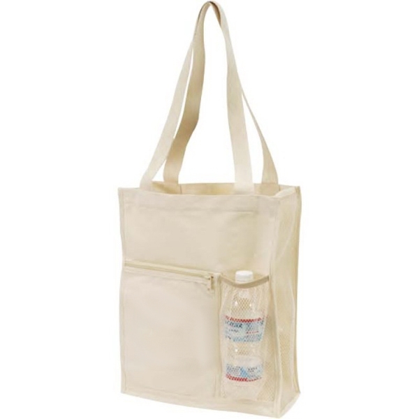 Item #TB117 Canvas Mesh Tote with Bottle Holder