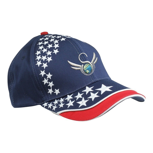 Item #B-8105 Cotton Twill 6 Panel Star Embroidered Cap
