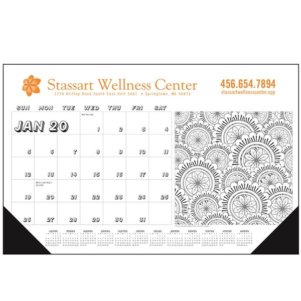 Adult Calendar 2020 Adult Coloring Book 2020 Desk Calendar Pad   Item #6522