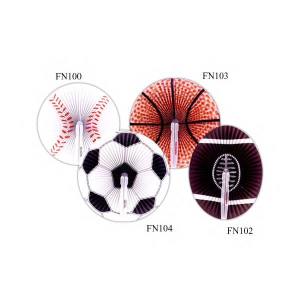 Baseball - Paper, hand held folding fan with sports ball