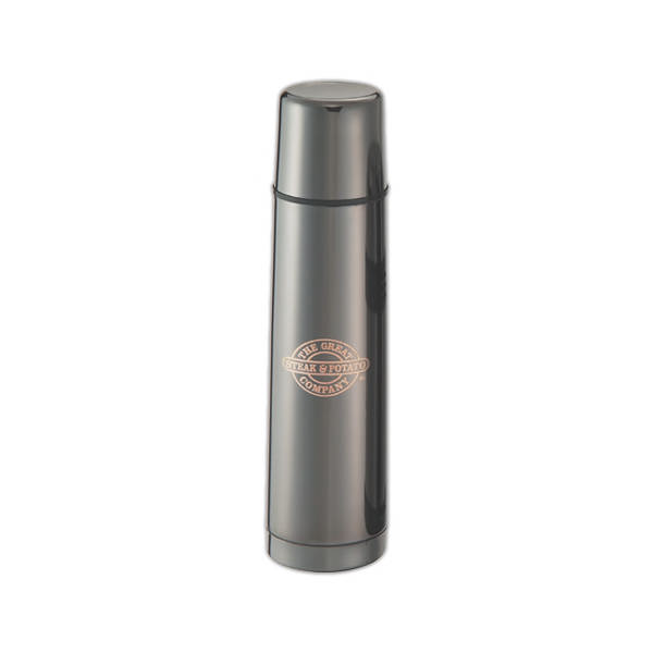 Item #SM12BC Black Chrome - Desktop travel thermos with vacuum insulated double wall stainless steel.