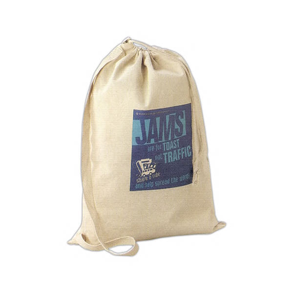 Item #9024 Buddy - Natural 10 oz. canvas laundry bag with shoulder strap, drawstring closure.