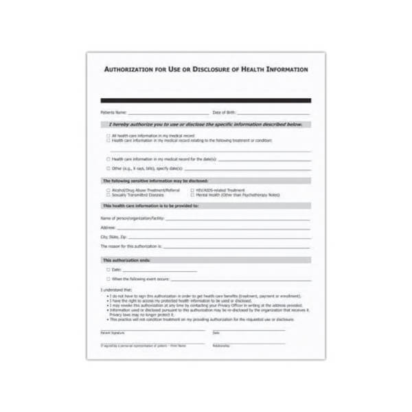 Blank  Patient Authorization Form Designed To Meet Hipaa