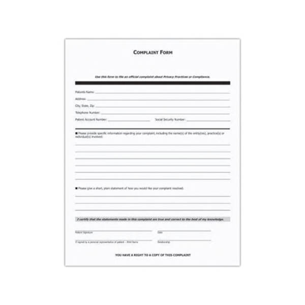 Imprinted  Patient Complaint Form Designed To Meet Hipaa