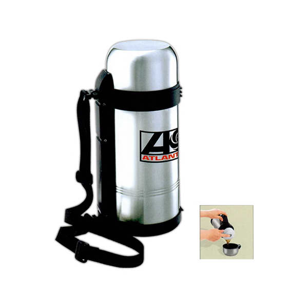 Item #SM21SS Stainless steel 51 oz. travel thermos with vacuum insulated double wall.