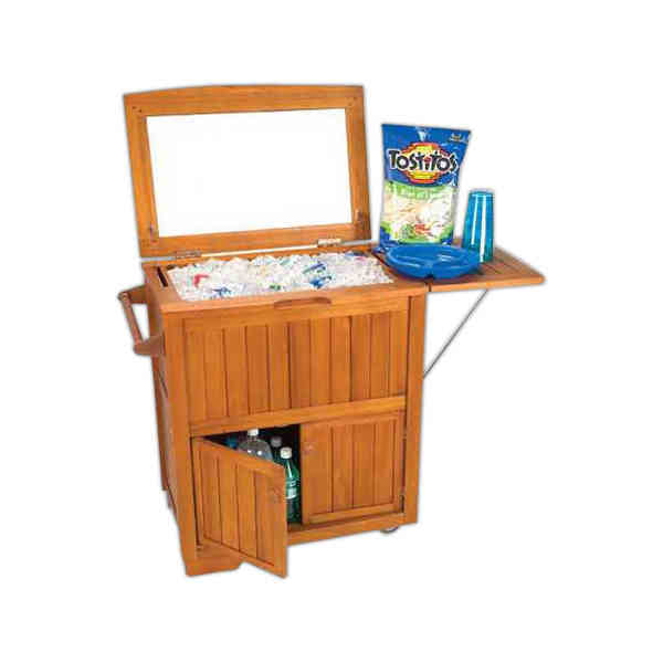Item #53001 Rolling Cabinet Patio Cooler (TM)   Rolling Cooler With Cabinet  And Storage, Blank.