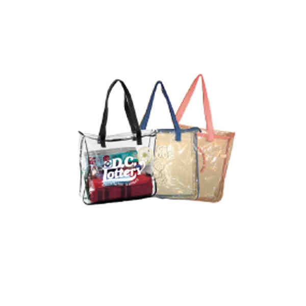 Zippered Clear Tote Bag (TM) - Clear vinyl tote bag with black ...