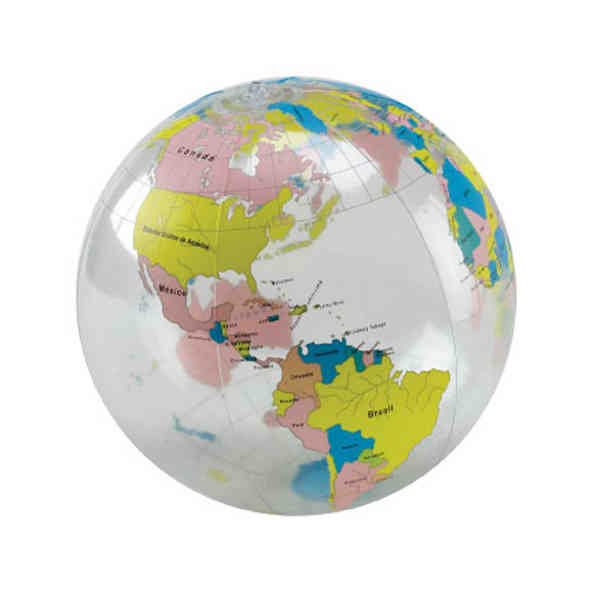 Inflatable Globe World Map. Item  SP60271 Inflatable 16 globe beach ball with clear and multi color world map in Spanish