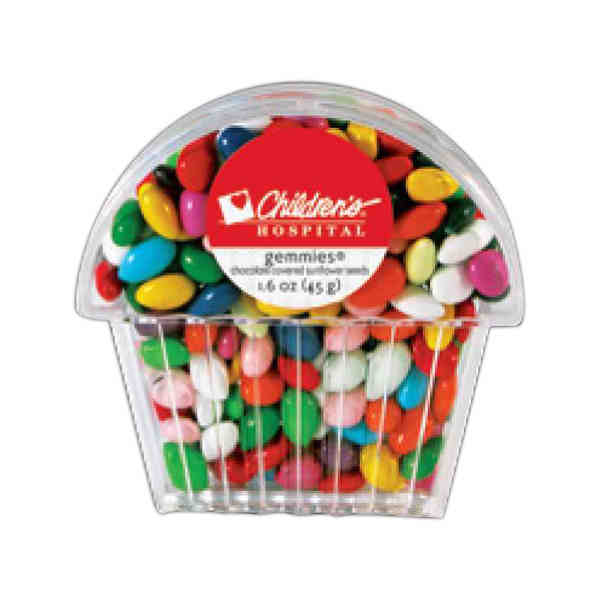 Item #C1.6G Gemmies - Chocolate covered sunflower seeds in a cupcake shaped container.
