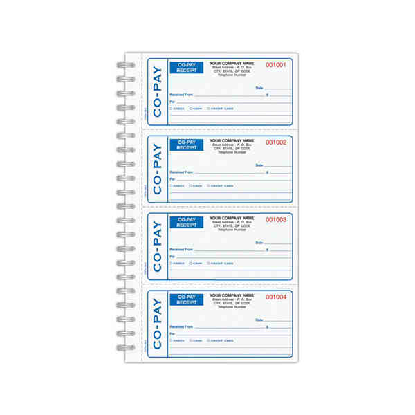 Carbonless Co Pay Medical Receipt Book Item Copa 1852