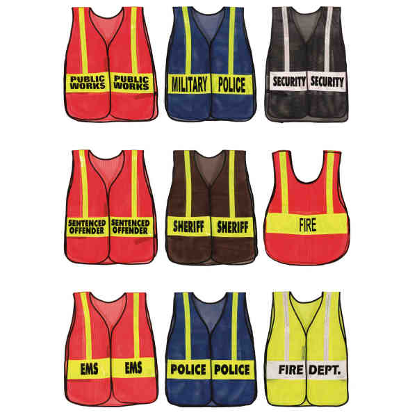 "Item #201362113SP Vinyl coated mesh with two 4"" x 18"" standard imprinted reflective panel vest."
