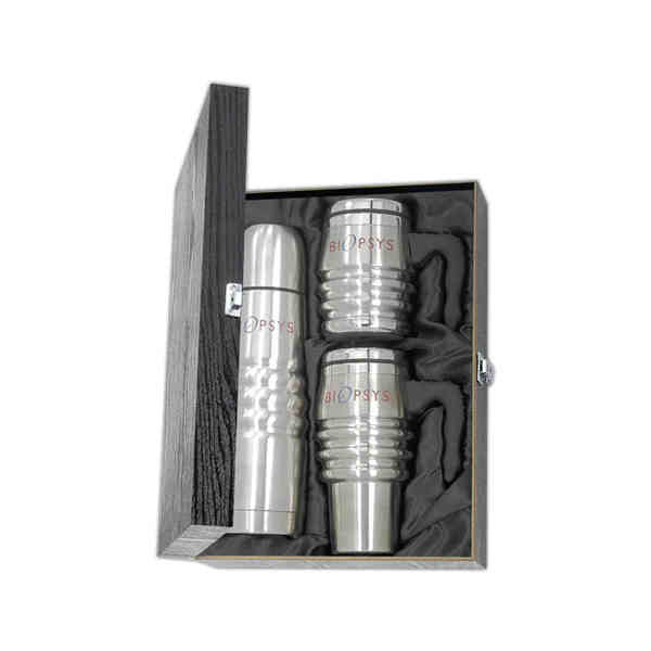 Item #WGB01 Stainless steel combination with 16 ounce stainless steel tri-roll mug and thermos.