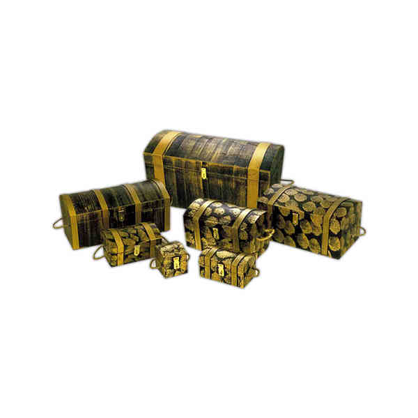 Item #MCM-B Captain Morgan - Black-Gold - Treasure chest with latch and handles.