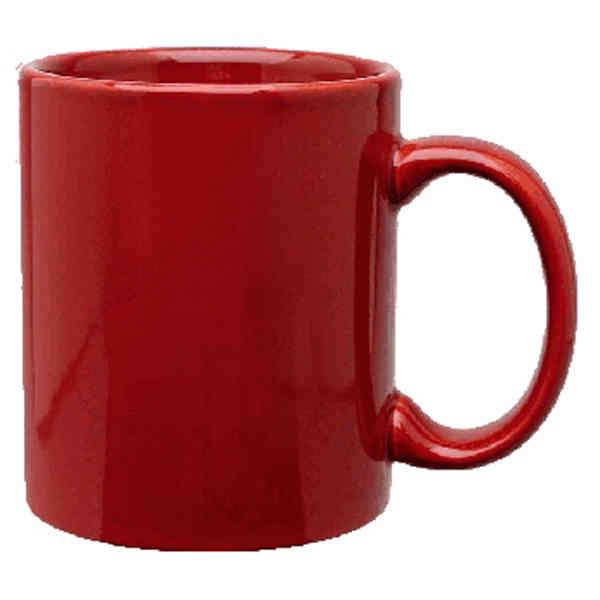 11 Oz Maroon Red Or Burgundy C Handle Ceramic Coffee Mug