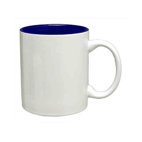 Item 7168 04 02 11 Oz White Outside Cobalt Blue Inside Ceramic C Handle Coffee Mug Or Cup