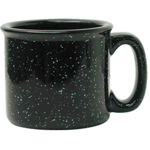 15 Oz Black Speckled Ceramic Campfire Style Coffee Mug Or