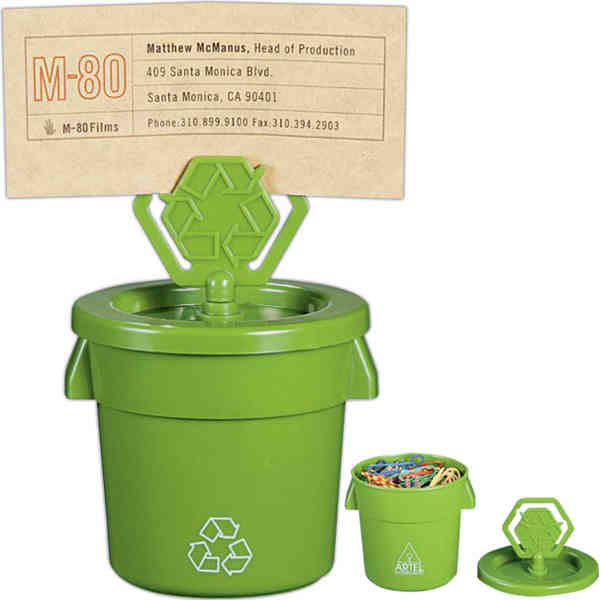 Item #1070-04 Loop - Green memo clip bin, recycling symbol printed on back, some assembly required.