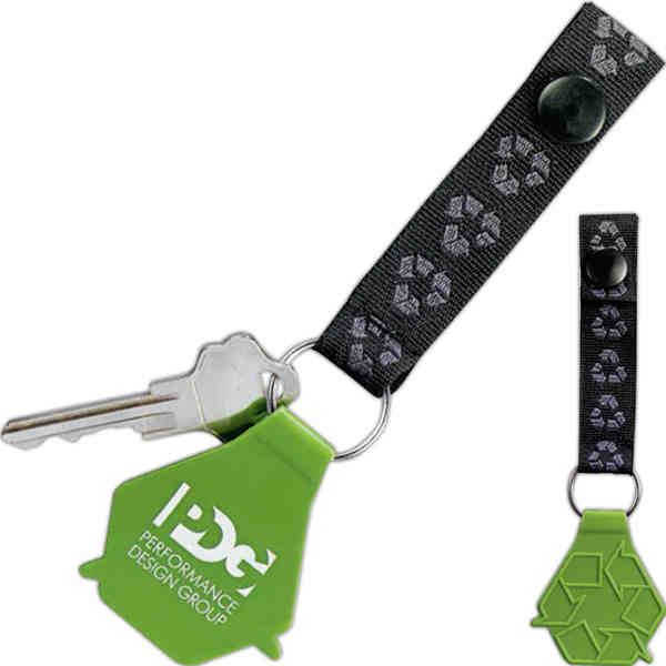 Item #1070-10 Loop - Green key tag, recycling symbol sewn into webbing and molded into plastic key tag.