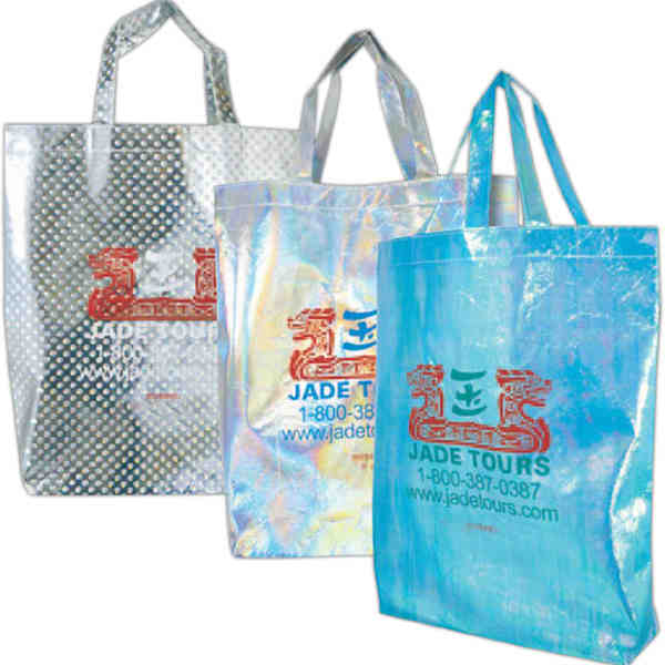 Item 0837 21 Jazzy Hologram Silver Non Woven Polypropylene Tote Bag With Glossy Lamination Exterior