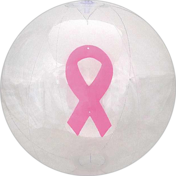 Item #AB-2112 Clear beach ball with pink ribbon
