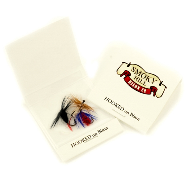 Item #014 Three fly fishing flies in matchbook