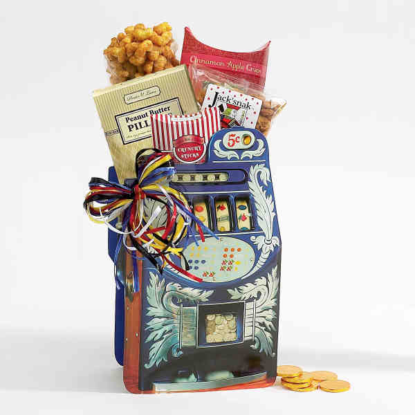 Item #F09059 Casino Gift Bag - Gambling theme decorative paper bag filled with snacks.