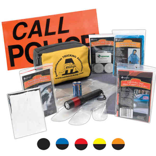 Item #21-938XP Travel safety pack with kneeling pad, banner, first aid kit, work gloves and more.